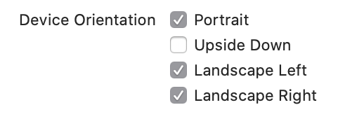 Xcode checkboxes for device orientation.